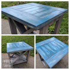 This end table is our take on the classic farm style table with a twist. With the recent rise in popularity of rustic furniture, we decided to develop our own take on custom distressed wood. Farmhouse Furniture, Rustic Furniture, Outdoor Furniture, Farm Style Table, Outdoor Tables, Outdoor Decor, Rustic Table, How To Distress Wood, Shades Of Blue