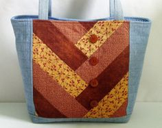 Large Jean Tote Bag Quilted Denim Blue Jean and Rust Patchwork Shoulder Bag Fabric Bag Purse Upcycled Recycled Repurposed Handbag Book Bag