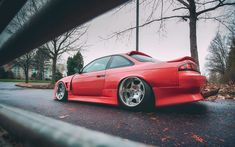 Download wallpapers Nissan Silvia, S14, red sports coupe, tuning Silvia, Japanese cars, sports cars, Nissan