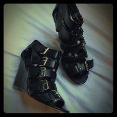 Spotted while shopping on Poshmark: Black wedged sandals! #poshmark #fashion #shopping #style #Express #Shoes