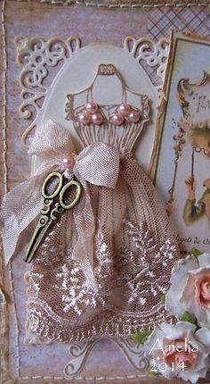 Ideas vintage cards hand made ideas shabby chic Quilts Vintage, Sewing Cards, Shabby Chic Cards, Dress Card, Card Tags, Card Kit, Vintage Cards, Diy Cards, Homemade Cards