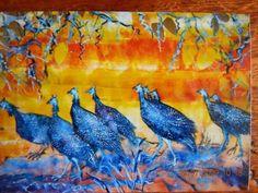 Guniea fowl acrykic on cardboard