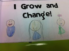 "After talking about animal life cycles, we talked about how we have a life cycle also. The kids illustrated their own ""I Grow and Change"" books."