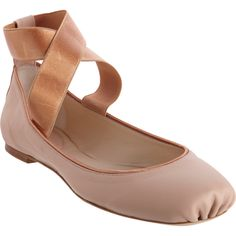 Chloé Criss-Cross Ankle Strap Ballet Flat with ruched, square toe. Contrast copper-tone trim and elastic criss-cross ankle straps.