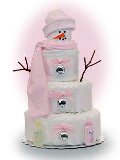 snowman diaper cake.  TOO CUTE!!!