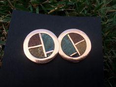 aros de cobre y piedras con pin