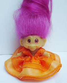 THE DOLL IS NOT INCLUDED  Handmade dress for a 1 1/2 vintage DAM THINGS or SCANDIA HOUSE 1965 1 1/2 inch pencil topper troll doll.  snap in the back