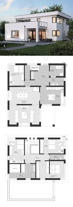 Modern Minimalist Luxury Style Architecture Design House Plans ELK Haus 186 - Dream Home Ideas with Open Floor Layout by ELK Fertighaus - Arquitecture Contemporary European Styles House Plan and Interior - HausbauDirekt. Model Architecture, Architecture Design Concept, Interior Architecture, Contemporary House Plans, Modern House Plans, Modern Contemporary, Modern Kids, Contemporary Architecture, Luxury House Plans