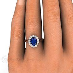 Blue Sapphire Engagement Ring Sapphire Ring Diamond by RareEarth