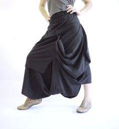 Steampunk Funky Boho Drop Crotch Black Stretch Cotton Draped Pants With Elastic Waist & Asymmetrical Hem on Etsy, $44.00