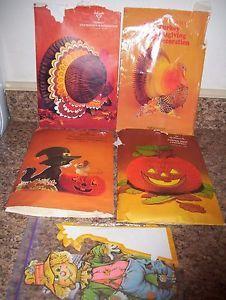vintage autumn fall halloween decorations honeycomb pumpkins turkeys scarecrows ebay - Ebay Halloween Decorations