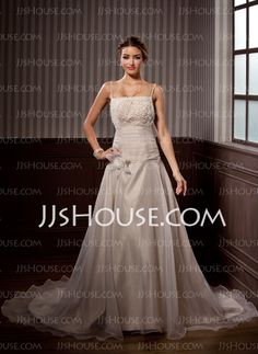 A-Line/Princess Square Neckline Chapel Train Organza  Satin Wedding Dresses With Ruffle  Lace  Beadwork (002000153)