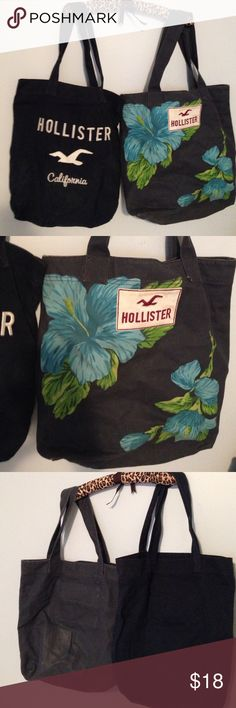 SALE! Hollister Beach Tote School Bag Bundle Two pre-owned Hollister tote bags. I used for school and they carry multiple books. Dark blue bag is in better shape, I used this less. Hardly wear and tear inside and out. The blue bag with the blue and green Hawaiian flowers was used the most. I've never washed and don't wish to try. Some stains in the interior may be able to be removed by someone who knows what they are doing. More noticeable wear exterior but that may be able to be washed out…