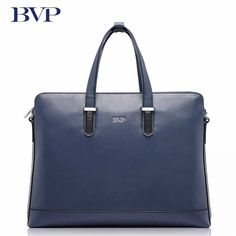 BVP Brand High Quality Genuine Leather Men Briefcase Business Blue Attache Case With Detachable shoulder strap Cow Leather Briefcase For Men, Blue Fashion, Cow Leather, Shoulder Strap, Briefcases, Business, Free Shipping, Leather Satchel, Cow