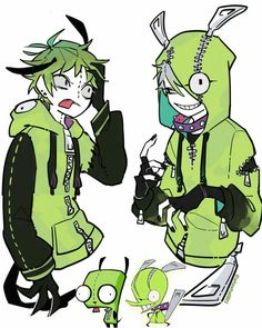 Gir from invader zim and Chuck from panty and stocking