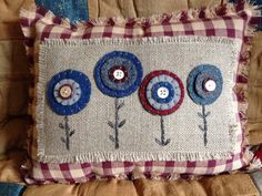 10.5 x 7.5 Penny Rug Flower Pillow Patriotic Pillow by FolkHome