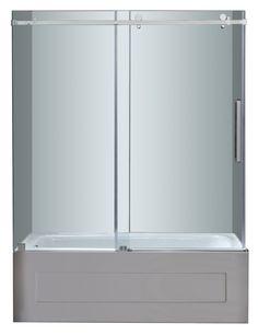 """TDR976 Moselle 60"""" Frameless Sliding Tub-Height Shower Door"""
