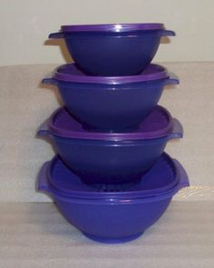 "Tupperware Servalier Bowl Set of 4 Lupine Blue Purple by Tupperware. $89.99. Tupperware Servalier Bowls. 4 Nesting Bowls 3c, 4c, 8c, and 11c, all with seals. These bowls feature the ""instant"" seal. Seal or release with just a press of your palm to the center of the seal. Virtually airtight, liquid-tight seals."