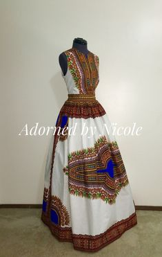 Dashiki Maxi Dress-Prom Wedding Bridesmaid by AdornedbyNicole