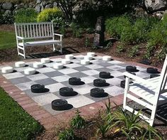 With a checkerboard like this, your kids can play boardgames and get exercise, too. Add weight to the pieces to give teens and adults a workout! -First Texan Realty