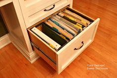 DIY hanging file drawer with a dremel Printer Cabinet, Diy File Cabinet, Printers Drawer, Filing Cabinet, Diy Organizer, Hanging File Organizer, Office Organization At Work, Bedroom Organization Diy, Office Ideas