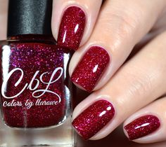 CbL The Journey Collection 2016 - The Journey Begins - a raspberry red jelly base with glowing holo flake and shimmer. Swatch by @shannasnailadventures on Instagram.