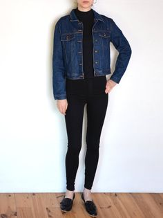 90's eyelet detail denim jacket dark blue by WoodhouseStudios