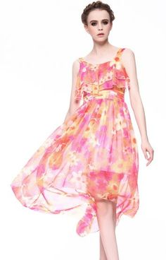 Red Spaghetti Strap Floral Ruffles High Low Dress pictures
