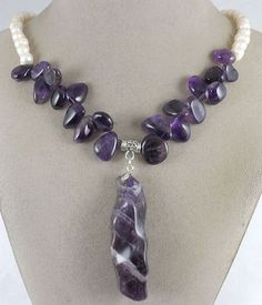 Natural Amethyst gemstone rock pendant,white Pearls handmade jewelry necklace