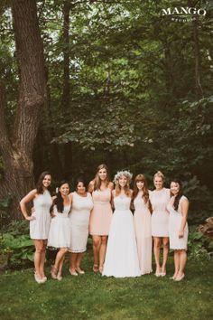 Beautiful Bridal party! #bride #bridesmaids #pink #white #weddings #entourage #gown #dress #mangostudios Photography by Mango Studios