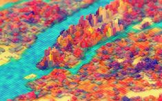 Download wallpapers 4k, autumn, river, forest, Lego, creative, isometric landscape