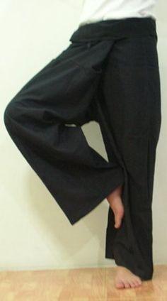 Black Fisherman Pants Yoga Clothes Thai Summer Beach Pants Yoga Wear Cotton Thai Comfortable Pants Clothing Thai Yoga . $18.95