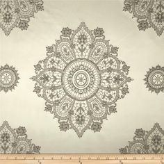 Starlight Lourier Medallion Satin Jacquard Silver from @fabricdotcom  Refresh and modernize any home decor with this medium weight jacquard fabric. This fabric is a perfect weight for window treatment (draperies, swags, valances, curtains) accent pillows and light upholstery.