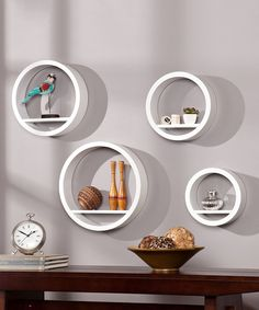 White Bali Circle Shelf Set
