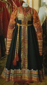 Russian sarafan: derived from the panjova, featuring a closed skirt pulled up higher for cold weather and a pinafore-like dress that hangs from under the arms down to the ankles