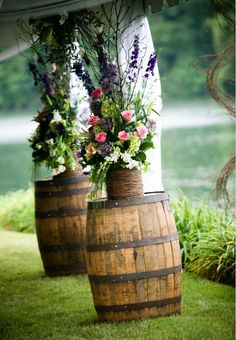 Wine barrels to hold floral pieces