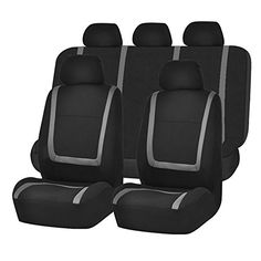 FHFB032115 Unique Flat Cloth Seat Cover w 5 Detachable Headrests and Solid Bench GrayBlack Fit Most Car Truck Suv or Van *** ON SALE Check it Out