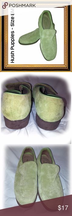 HUSH PUPPIES - Chartreuse Suede Loafers - Size 8M Condition:  Excellent  Chartreuse is that shade of green that slides a little to the yellow spectrum. Soft, unscathed suede and the comfort of Hush Puppies. Hush Puppies Shoes Flats & Loafers