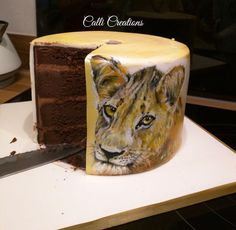 African Lion Painting Sketch Birthday Cake