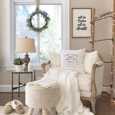 Neutral Christmas Reading Nook Decor via garden rooms reading nooks 25 Neutral Christmas Decor Ideas Living Room Decor, Bedroom Decor, Bedroom Sitting Room, Deep Seat Cushions, Little Corner, Décor Boho, Cozy Corner, Ballard Designs, Home Interior