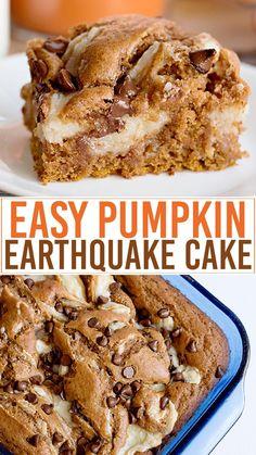 Baking Recipes, Dessert Recipes, Amish Recipes, Baking Desserts, Earthquake Cake Recipes, Decadent Chocolate Cake, Spice Cake Mix, Vegetarian Cake, Pumpkin Dessert