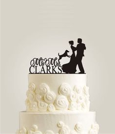 Custom Wedding Cake Topper | Bride and Groom Wedding Silhouette Couple Cake Topper with Dog Wedding Cake Toppers | Dog Cake Topper by LaserDesignShop on Etsy https://www.etsy.com/listing/208368851/custom-wedding-cake-topper-bride-and