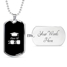 This personalized dog tag necklace is the perfect way to show your special graduate how proud you are of them. This dog tag can be engraved with your personal message. It is available in gold and silver with prices starting at $39.95.#classof2020 #2020graduationgift #personalizedgraduationgift Personalized Graduation Gifts, Personalized Necklace, Graduation Necklace, Glass Coating, Class Of 2020, Working Moms, Custom Engraving, Dog Tags, Dog Tag Necklace