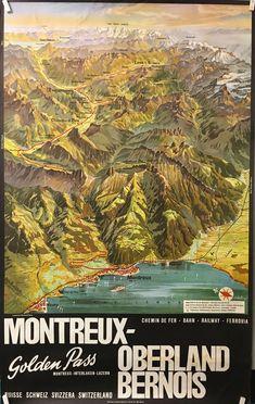 VAUD Montreux Oberland Bernois chemin de fer golden pass par Louis KOLLER 1965 Natural Park, Art Graphique, Travel Tips, Arts, Trains, Nature, Movie Posters, Europe, Geneva