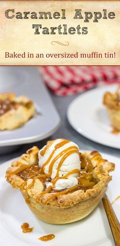 Packed with flavorful apples and topped with delicious caramel, these Caramel Apple Tartlets are a great baking project for Autumn! Fun Desserts, Delicious Desserts, Dessert Recipes, Yummy Food, Mini Tartlets, Pumpkin Swirl Cheesecake, Holiday Recipes, Fall Recipes, Holiday Baking