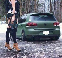 Slammed military green VW Golf MK6