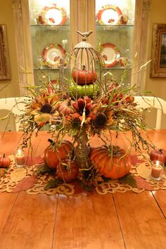Fall Pumpkin Stands For Outdoor And Indoor Decor - DigsDigs Fruits Decoration, Harvest Decorations, Decoration Table, Thanksgiving Decorations, Thanksgiving Table, Thanksgiving Celebration, Holiday Centerpieces, Thanksgiving Activities, Seasonal Decor