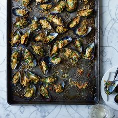 Moules farcies--These broiled mussels with a crispy bread crumb topping are a perfect fast hors d'oeuvre.