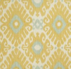 Yellow Aqua Ikat Fabric - Upholstery Fabric by the Yard - Ikat Drapery Fabric