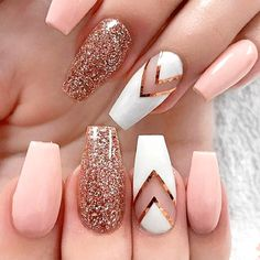 Images result for Autumn Nails design almond shape - WooHoo - Nageldesigns - Pink Acrylic Nails, Acrylic Nail Designs, Nail Art Designs, Glitter Nails, Gold Glitter, Gold Nails, White Nails, Design Art, Coffin Nails Designs Summer
